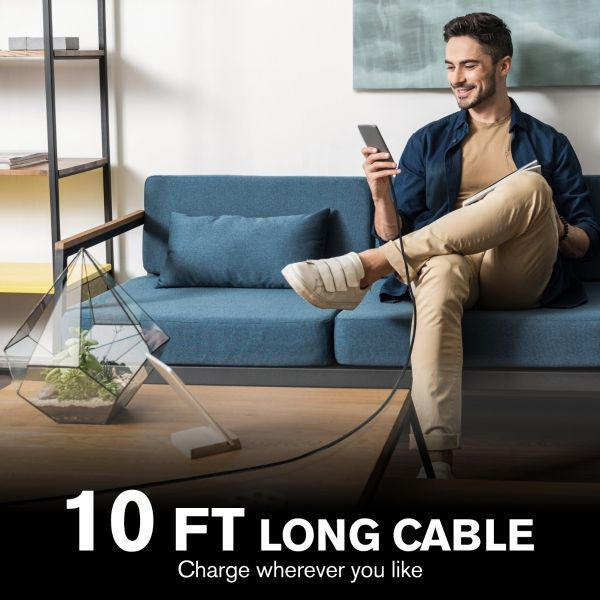 Apple MFI Certified Type-C to Lightning Woven Cable with Aluminum Housing - Space Gray Plug/Black Jacket - 10FT