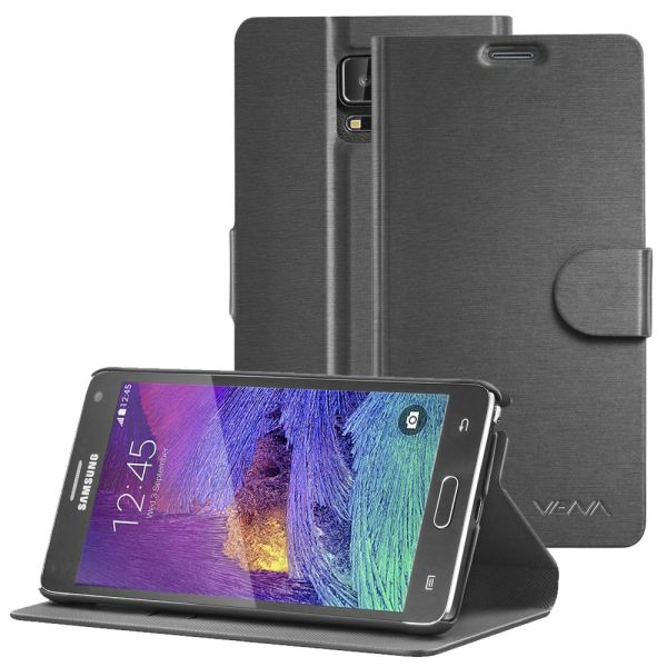 vSuit Draw Bench PU Leather Wallet Flip Stand Case with Card Pockets for Samsung Galaxy Note 4