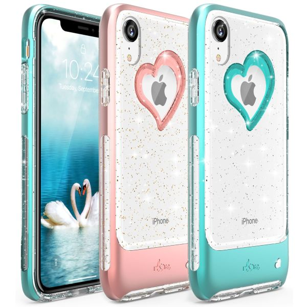 iPhone XR Glitter Heart Case vLove