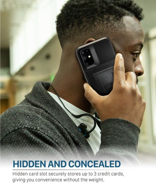 Vena vCommute Galaxy S20+ Wallet Case – Space Gray (PC) / Black (TPU) / Black (Leather)