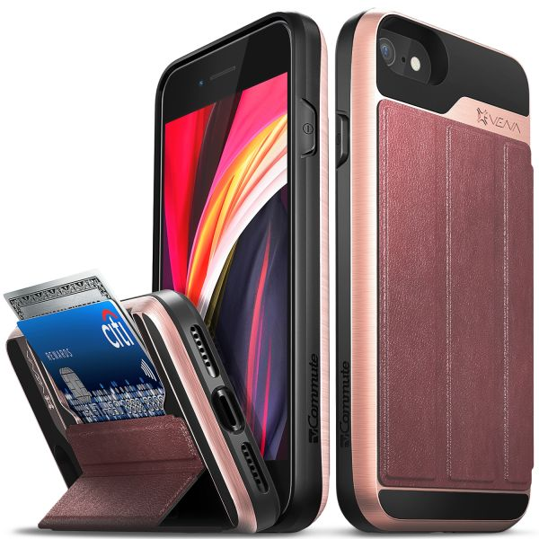 vCommute iPhone SE 2020 / 8 / 7 Wallet Case - Rose Gold (PC) / Black (TPU) / Red (Leather)