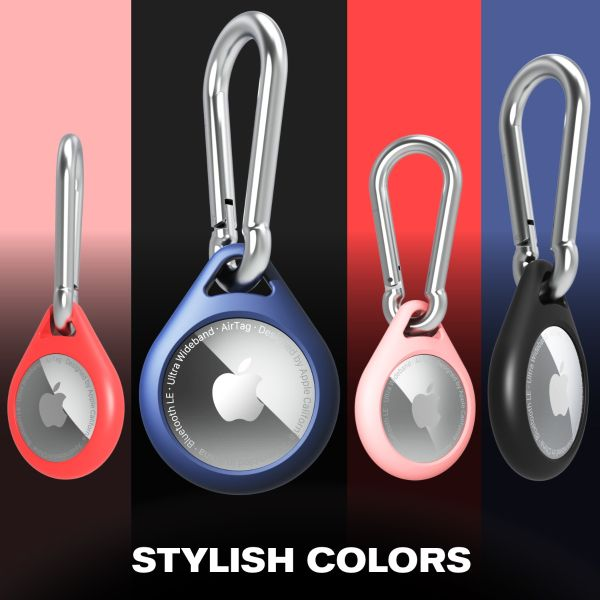 Vena Silicone Case for AirTag w/ Carabiner - Black, Red, Blue & Pink - 4 Pack - Pendant Style