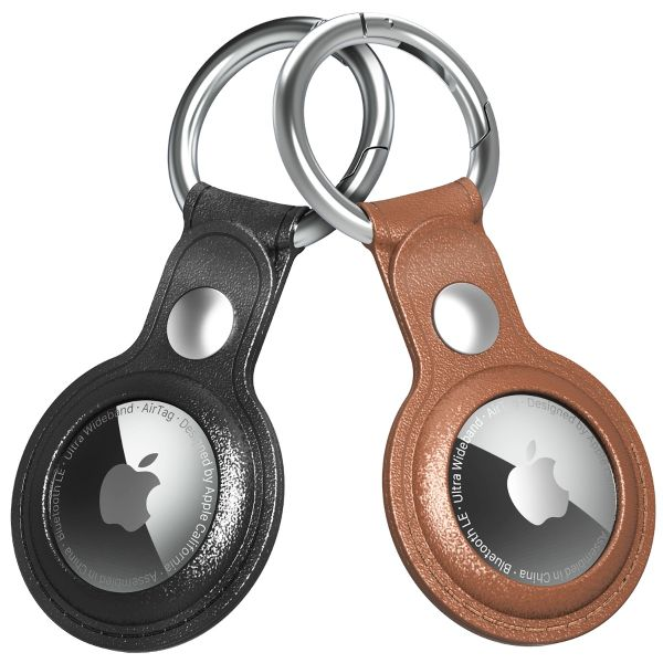 Vena PU Leather Case for AirTag w/ Keychain Ring - Black & Brown - 2 Pack