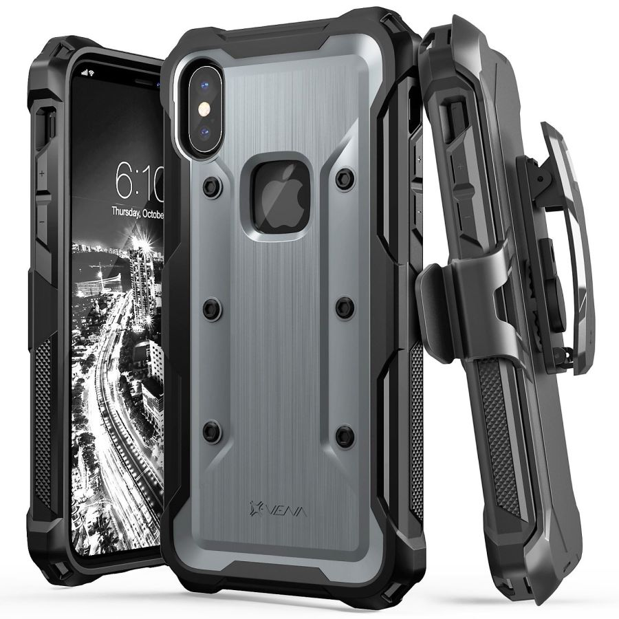 Black VALUE iPhone Xs Case Viero Defender iPhone X Case Heavy Duty Rugged Impact Resistant Full Protective Armor Military Protection Belt Clip Holster Kickstand Protector Case Cover for iPhone 10