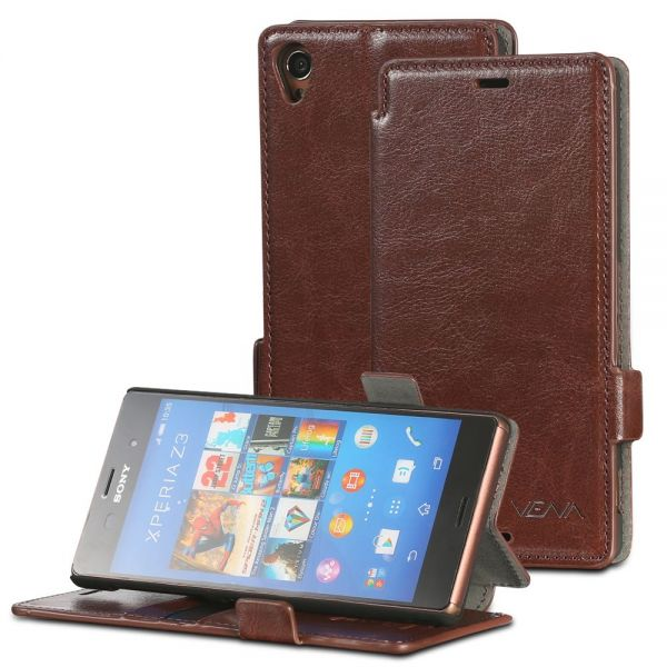 vFolio Vintage PU Leather Wallet Flip Stand Case with Card Pockets for Sony Xperia Z3