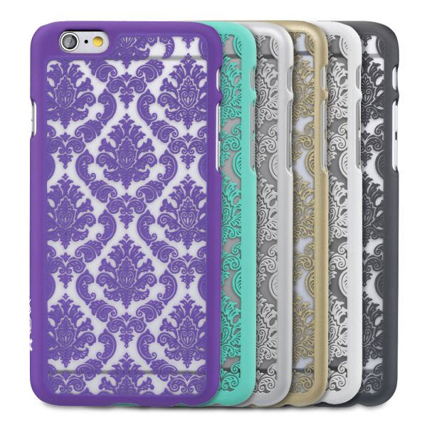 TACT Damask Design Rubber-Coated Polycarbonate Hard Case Cover for Apple iPhone 6 / 6s (4.7
