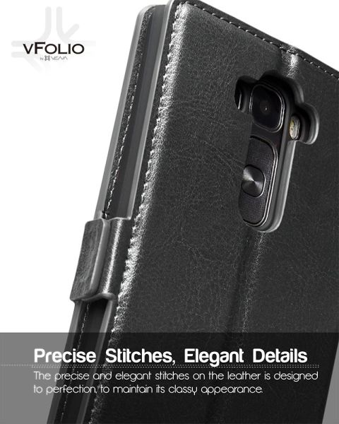 vFolio Genuine Leather Wallet Flip Stand Case with Card Pockets for LG G Flex 2
