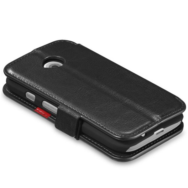 vFolio Genuine Leather Wallet Flip Stand Case with Card Pockets for Motorola Moto E (2nd Gen)