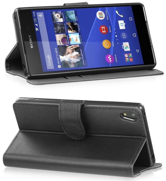vSuit Draw Bench PU Leather Wallet Flip Stand Case with Card Pockets for Sony Xperia Z3+ / Z4