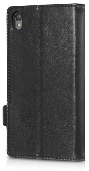 vFolio Genuine Leather Wallet Flip Stand Case with Card Pockets for Sony Xperia Z4