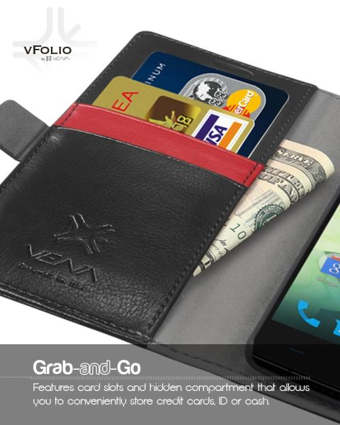 vFolio Genuine Leather Wallet Flip Stand Case with Card Pockets for OnePlus 2