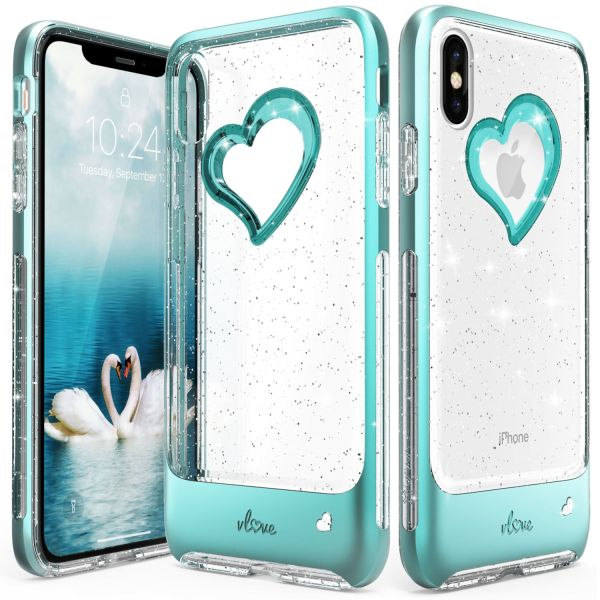 iPhone XS Max Glitter Heart Case vLove